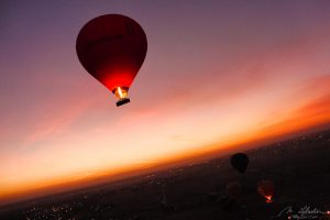 Hot air balloon Valley of the Kings at sunrise