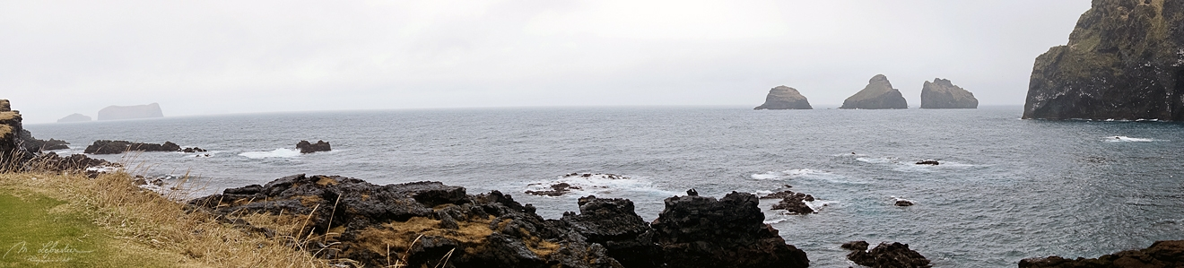landscape view of the elephant rock and surroundings in Heimaey island in Iceland
