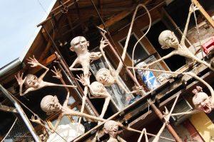 Ghetto Sculpture in Metelkova in Ljubljana Slovenia the funky alternative area on the facade of a club