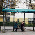 street litter bin in Minsk, Belarus by a bus stop