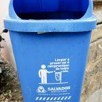 blue litter bin in Salvador de Bahia Brazil limpar e preservar e compromisso de todos nos