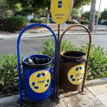 a blue and brown bin in Paphos Cyprus