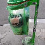 street litter bin in Paris France in transparent plastic after the terrorist events of 1995 where bombs were placed in trashcans in Paris