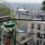 a litter bin with a plastic bag in Montmartre in Paris France