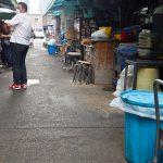 a street litter bin in the area of Tsukiji Outer Market in Tokyo Japan
