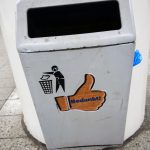 a dutch street litter bin in Amsterdam capital of the Netherlands