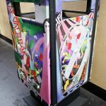 a colorful litter bin at the train station of Eindhoven the Netherlands