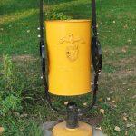 a beautiful yellow trash bin in Bucarest Romania