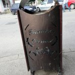a street litter bin in Orsova Romania