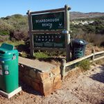 litter bins at the entrance of Scarborough beach in South Africa