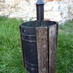 a litter bin by the old castle of Durres in Albania