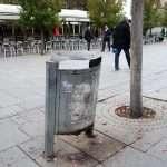 a litter bin in the main street of Pristina, Nena Tereza street in Kosovo