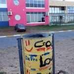 a litter bin by Dolphin Beach in Jeffreys Bay in South Africa