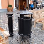 a nice litter bin with its ashtrain in the outlet center Mc Arthur Glen in Roermond the Netherlands