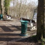 green bins by the river l'Oise in Auvers-sur-Oise the town of impressionists in France