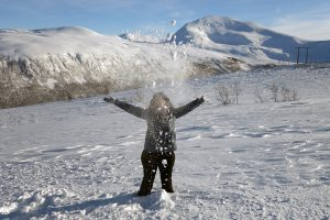 Myriam Leforestier playing in the snow in Tromso Norway