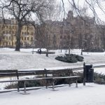 a litter bin in the winter in the town of Riga in Latvia