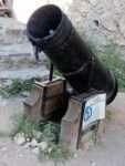 a litter bin in the shape of a canon in Rasnov, Romania (Transylvania)